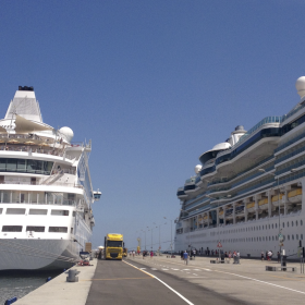 AIDAaura and Serenade of the Sea at the Port of Ravenna